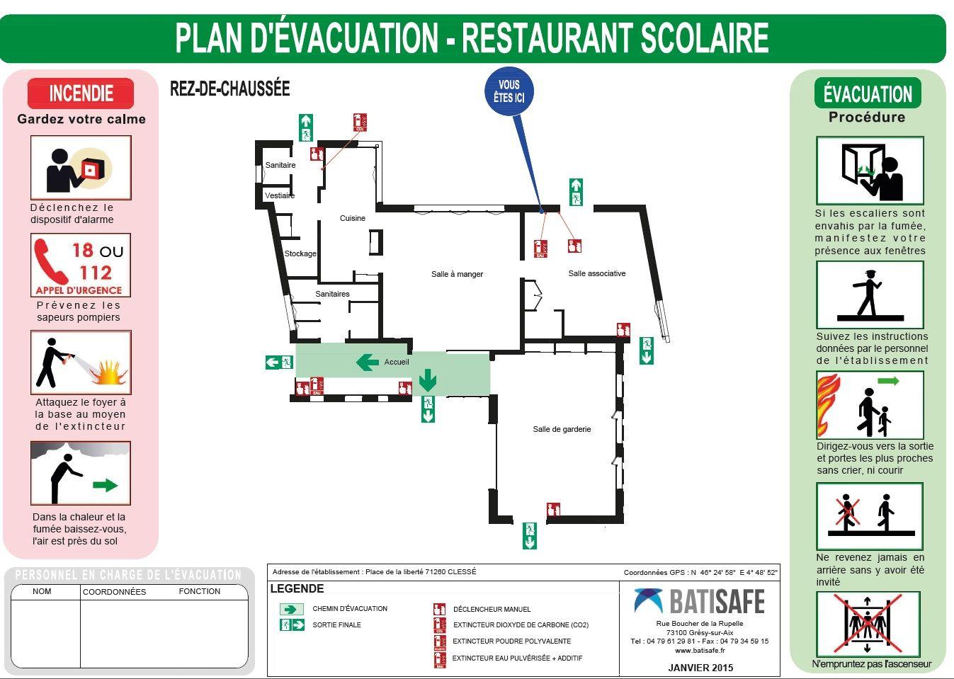 Affichage De Securite Incendie Par Batisafe Plans D Evacuation Plans D Intervention Consignes Realise Par Des Inge Safety Instructions Instruction Diagram