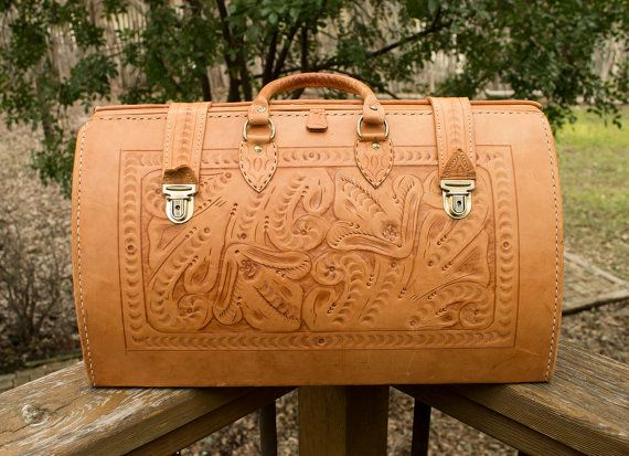 Vintage Western Tooled Leather Carry On Weekend Bag by silverflame ...