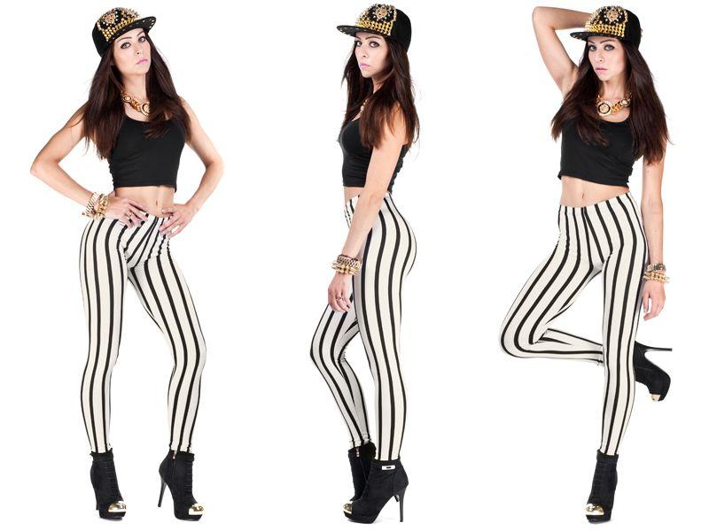 Legginsy Pasek Getry Leginsy Wyszczuplajace Paski 6693436486 Allegro Pl Wiecej Niz Aukcje Fashion Striped Pants