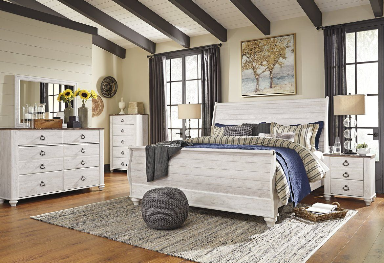 Naples Sleigh Configurable Bedroom set Farmhouse master