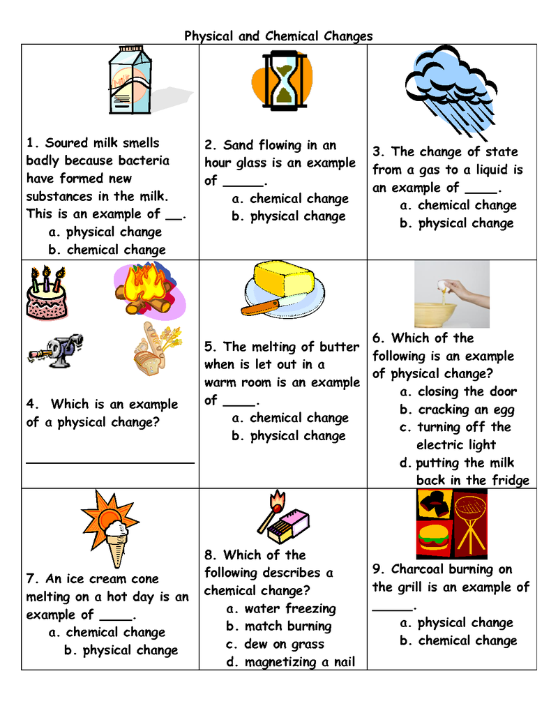 Physical And Chemical Change Worksheets For Kids   Chemical and physical  changes [ 1035 x 800 Pixel ]