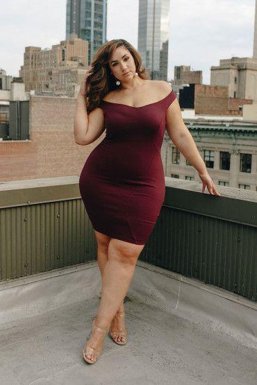 Plus Size Off Shoulder Bodycon Dress - Plus Size Party Dress ...