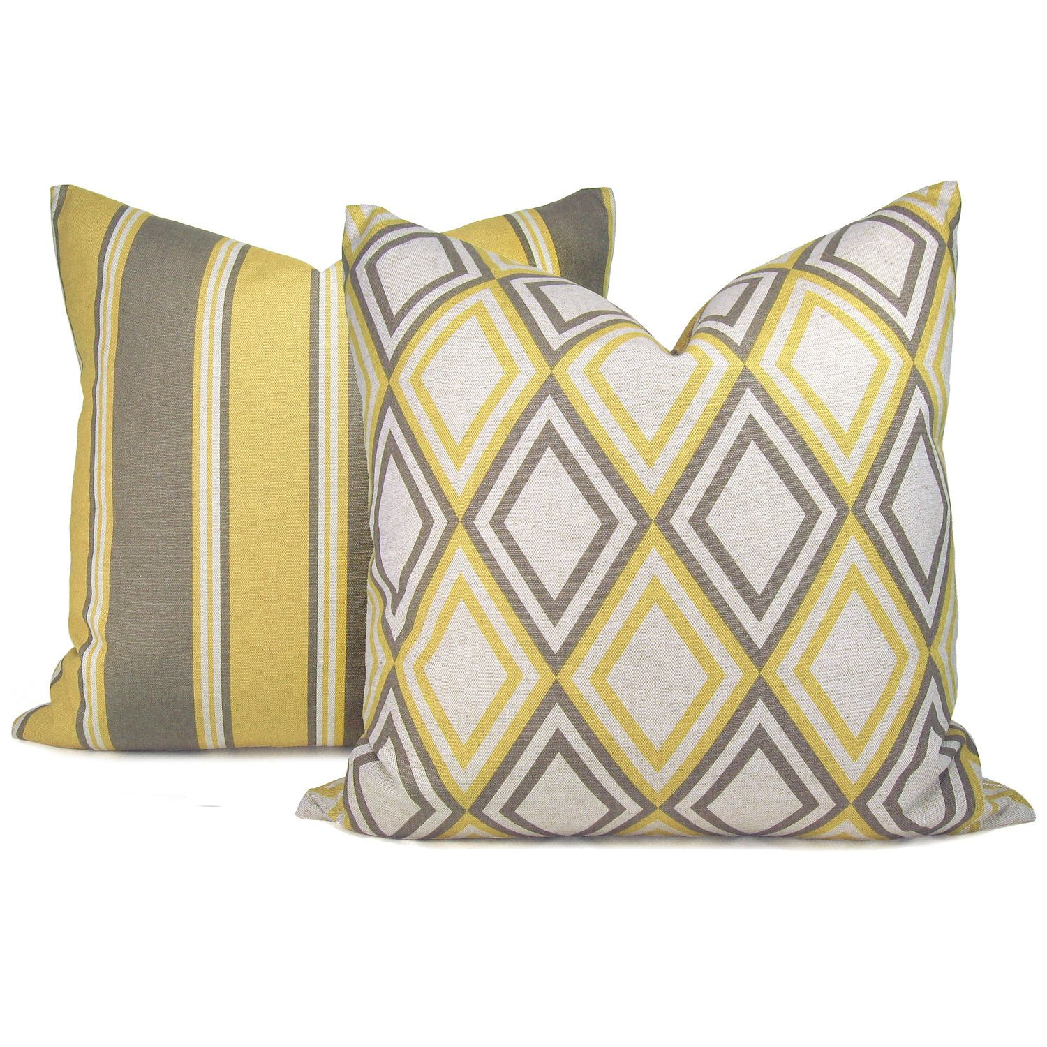 Gray And Yellow Pillow Cases Geometric Print And Stripe