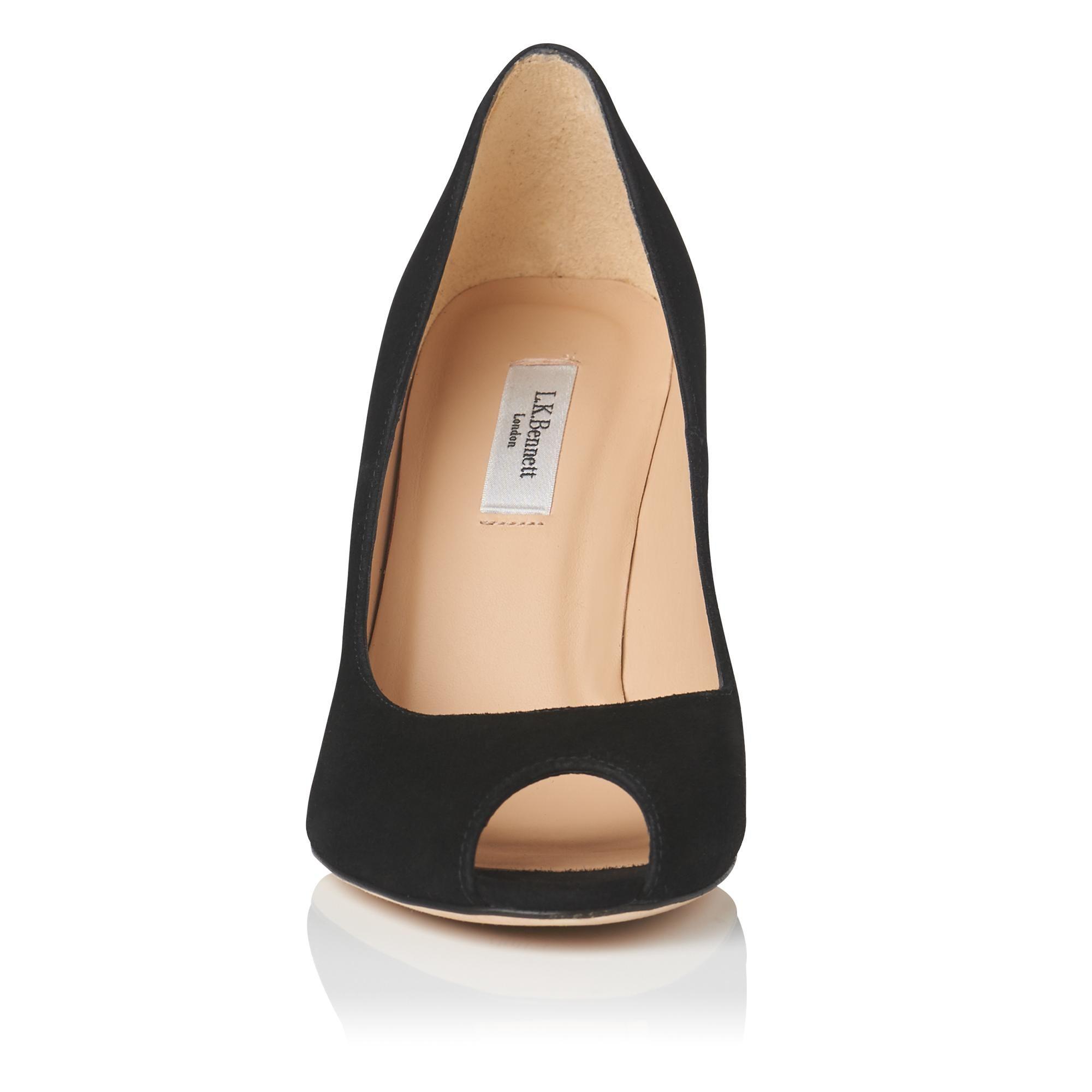 LK Bennett black suede with nude leather trim peep toe