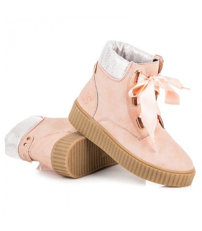 Ružové viazané členkové topánky Creepersy  d020cc570e5