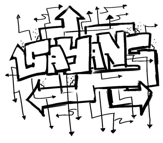 One Line Letter Art : Arrow graffiti style alphabets line