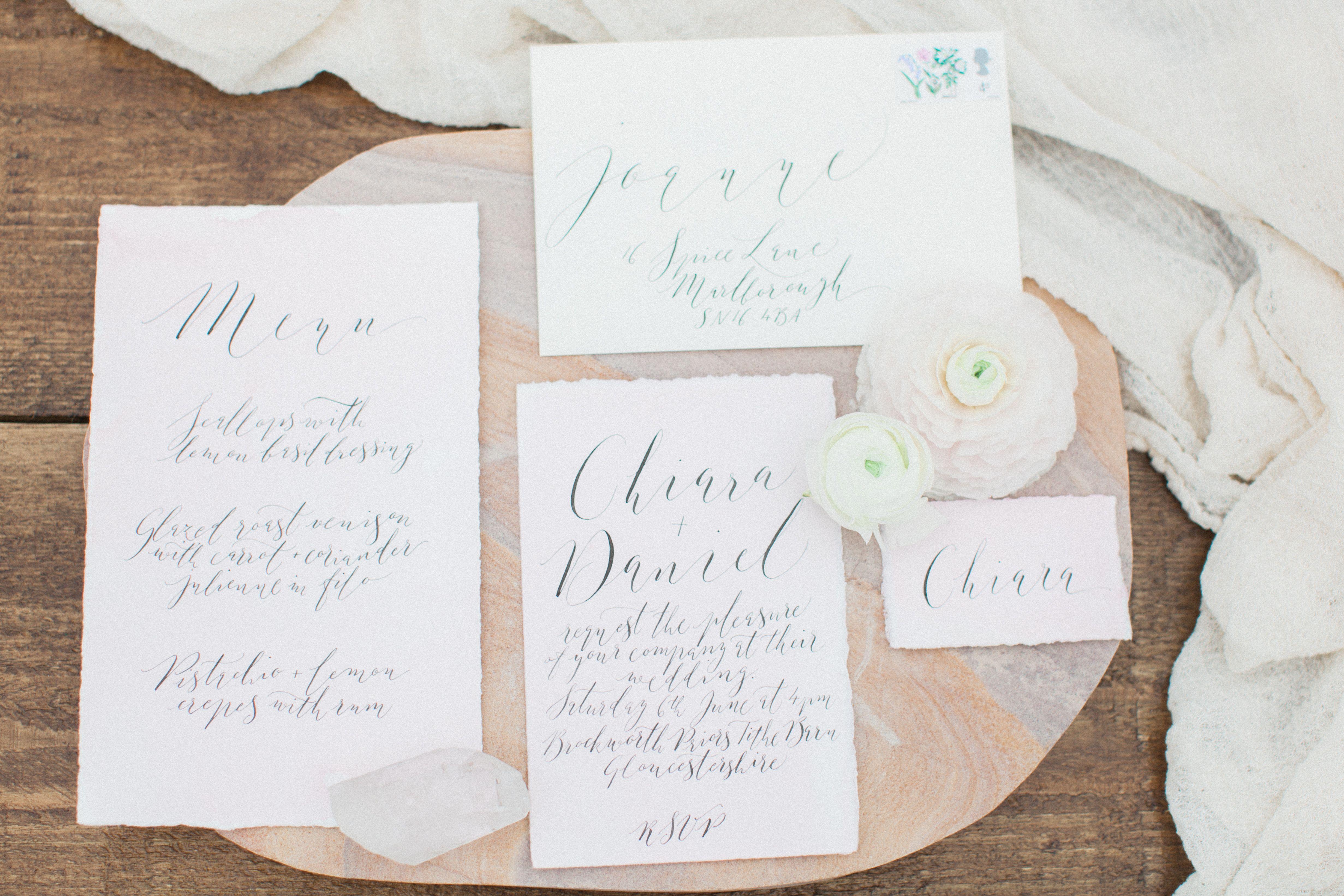Pastel wedding stationery, rose, quartz, pretty, fine art wedding ...