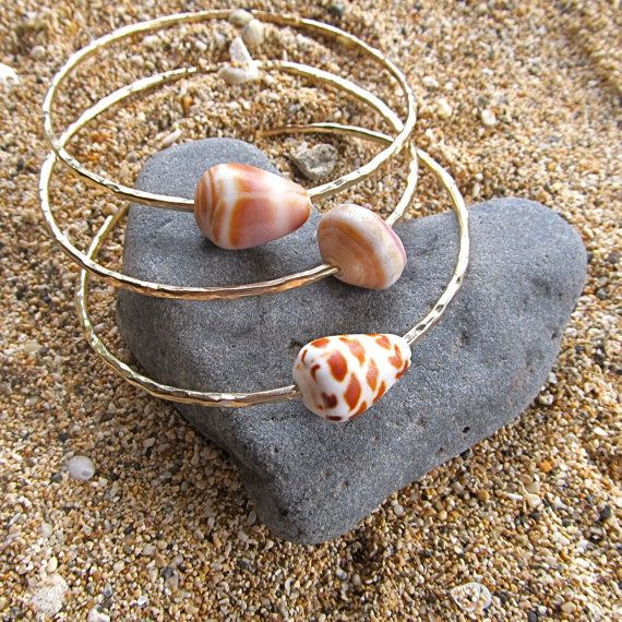 Gold Shell Bangles 3 Hammered Bracelets Maui Hawaii Beach Jewelry Thick 12 Gauge Save When You Or More 150 00 Via Etsy