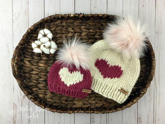 7127a8d0ab5 Mommy and me big heart knit beanie with fur pom