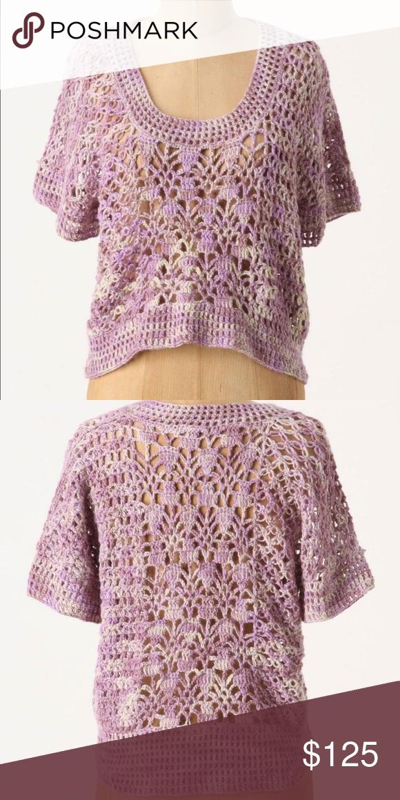 Anthropologie Hand Crocheted Hydrangea Pullover