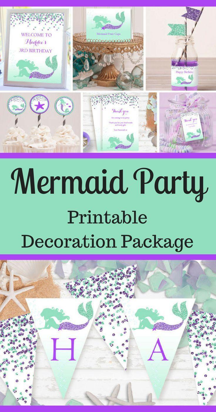Mermaid Party Decorations | Printable Party Decor | Mermaid Printables | Girl Birthday Theme | Mermaid Birthday Party Decor #ad #mermaid #mermaidlife #birthdayparty #party #partydecor #partytime #partyplanning #partyideas #purple #aqua #mermaidparty #print #printable #download #downloadandprint