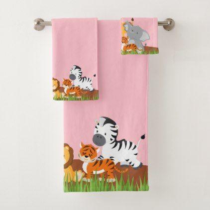 Cute Jungle Baby Animal Bath Towel Set Zazzle Com Baby Animals