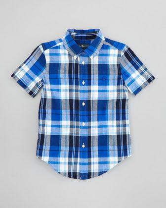 Blake Plaid Short-Sleeve Shirt, Sizes 2-6 by Ralph Lauren Childrenswear at Neiman Marcus.