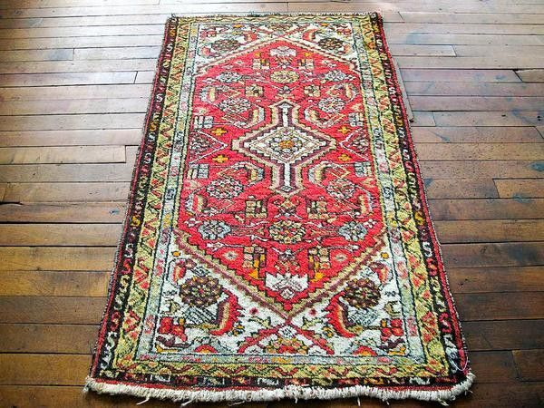 distressed vintage persian rug - perfect for bedroom area rug 2x5