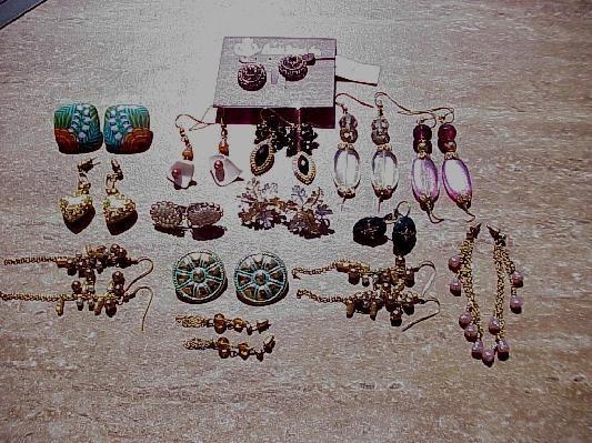 15 pairs of earrings, 9 bracelets