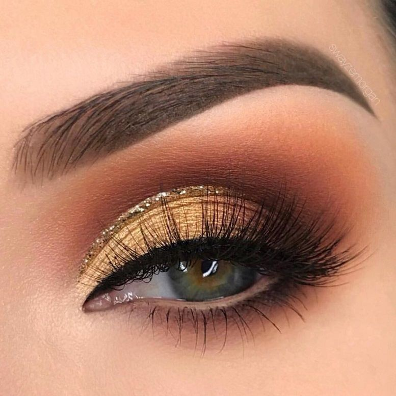 Soft glam gold eye makeup