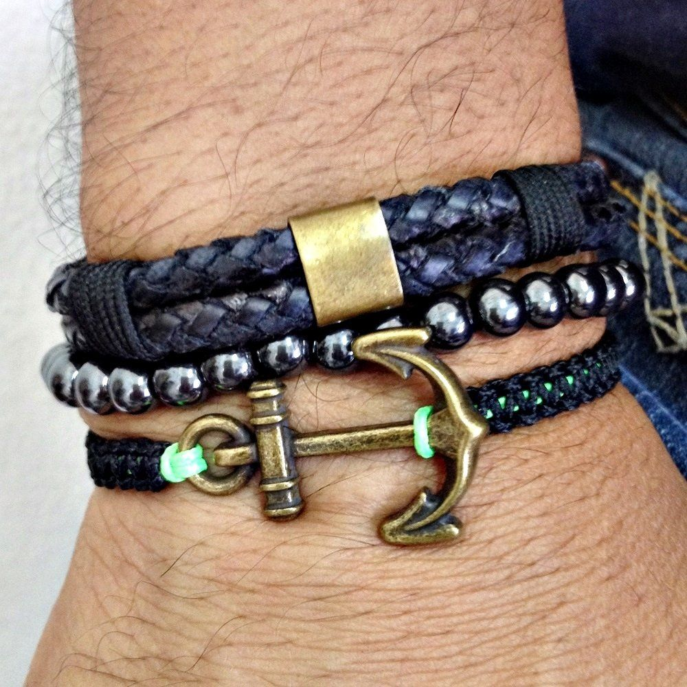 kit 3 pulseiras masculinas couro âncora hematita bracelet man men's fashion