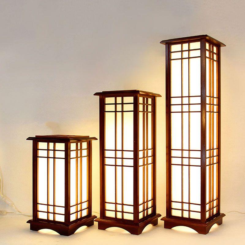 Classical Lantern Wooden Large Floor Lamp Bedroom Study Floor Standing Lighting Wooden Floor Lamps Wood Standing Lamps Floor Lamp