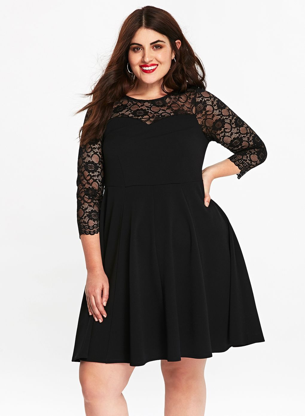 Black lace fit and flare dress dresses fit flare plus