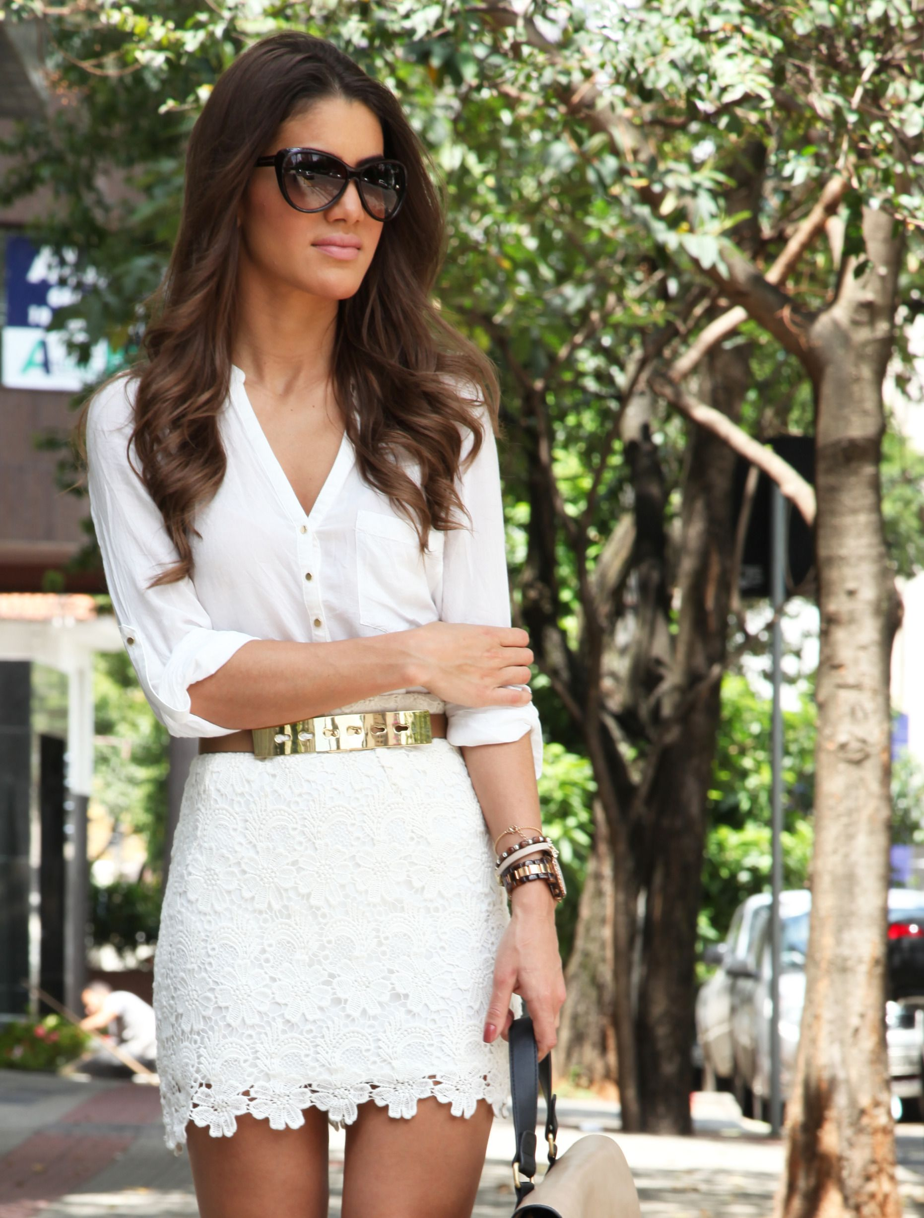 65357935fec4 Look do Dia: All White | Closet | White lace skirt, Fashion, Summer ...