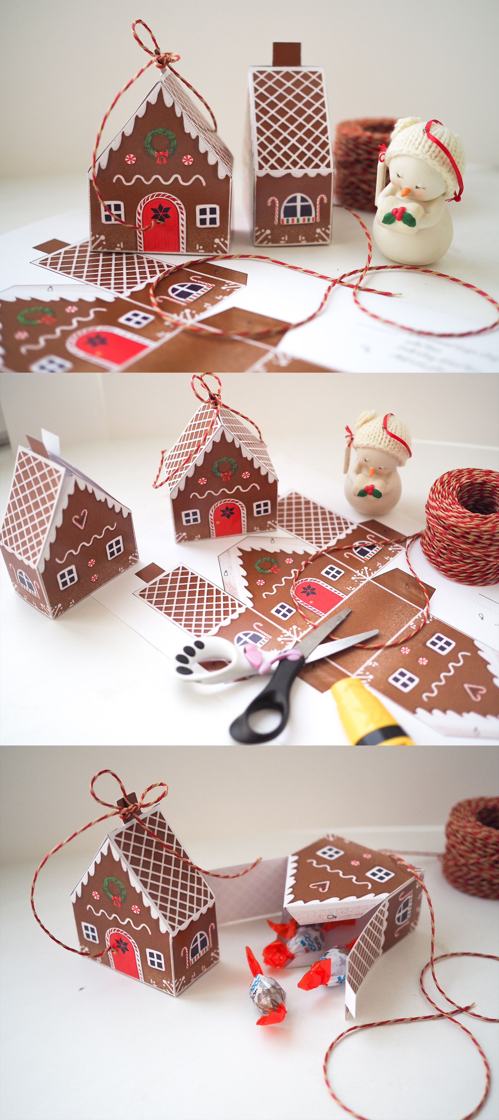 Gingerbread house favor box Cookie gift box Printable