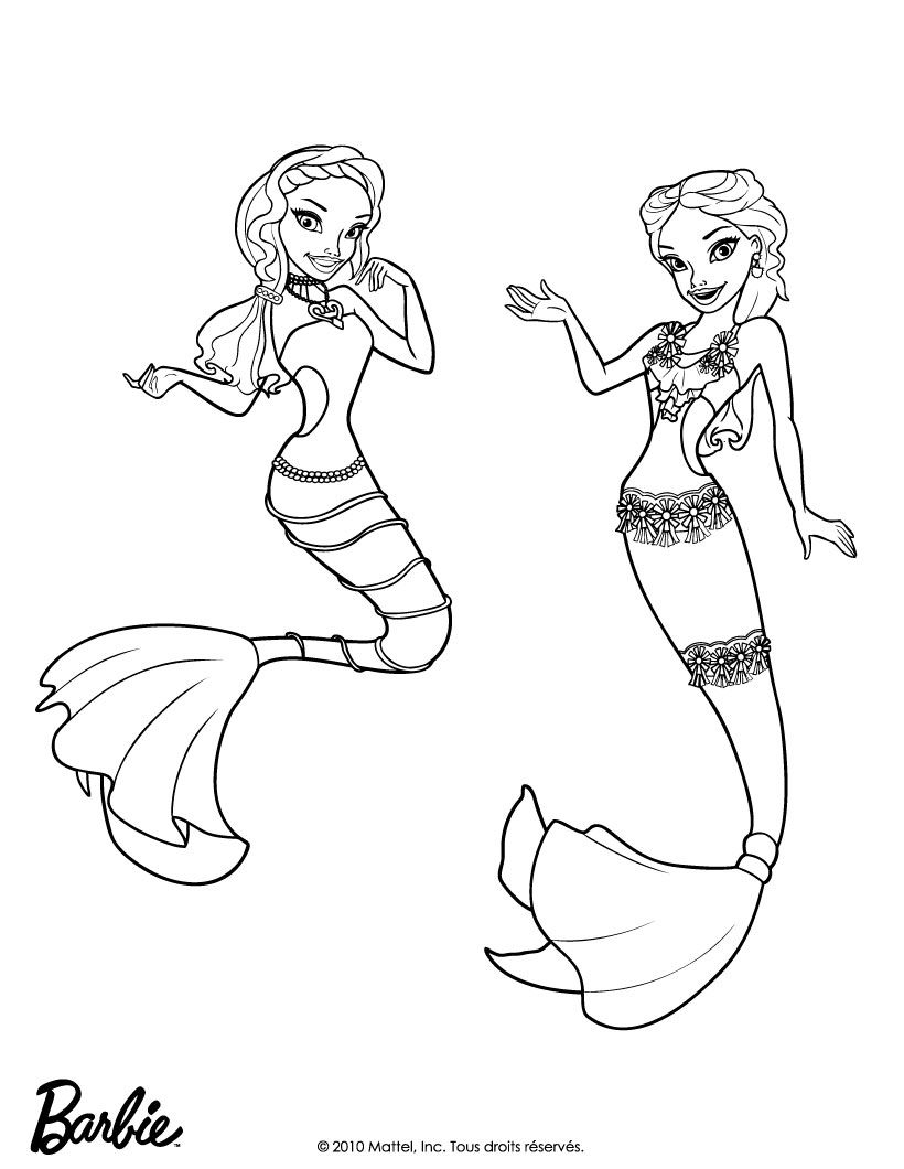 mermaid pages Barbie coloring