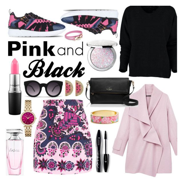 """Pink and Black"" by minchu ❤ liked on Polyvore featuring MSGM, Vince, Guerlain, Balmain, Salvatore Ferragamo, Lancôme, MAC Cosmetics, Kate Spade, Lilly Pulitzer and Betsey Johnson"