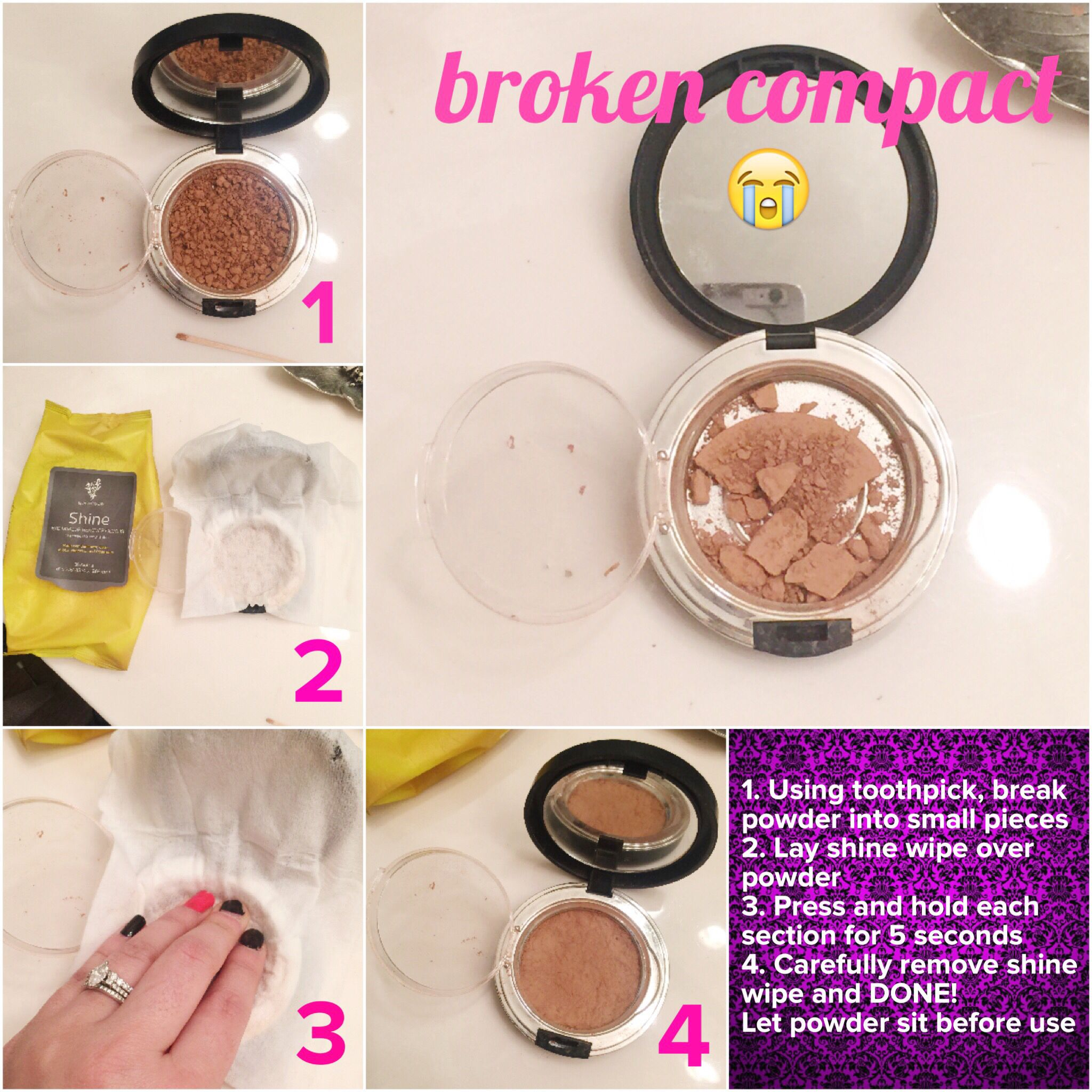How To Fix A Broken Compact Without Alcohol Use Makeup Remover Wipe Www Beautybyemmy Com Fix Broken Eyeshadow Fix Broken Makeup Broken Makeup