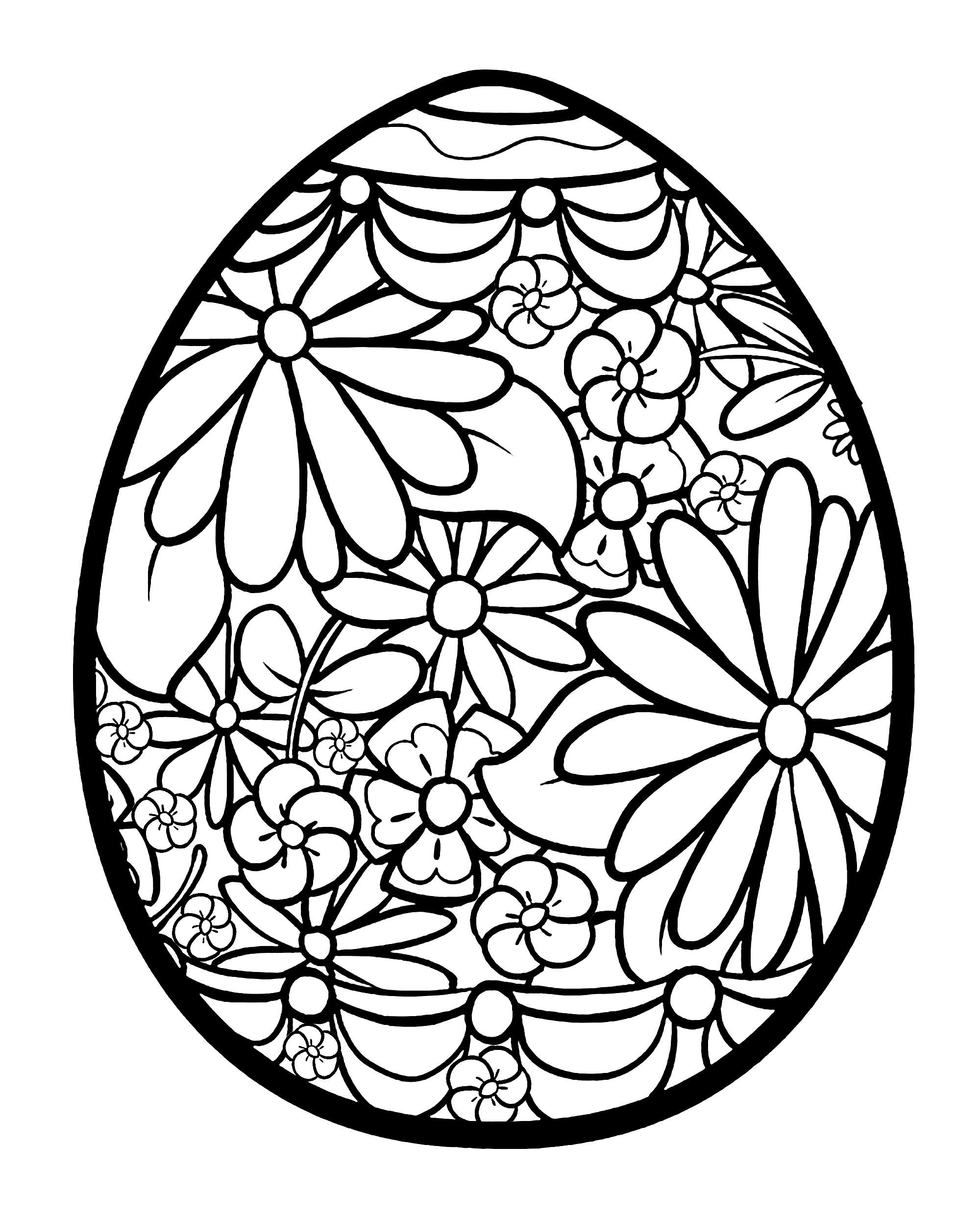 Easter Egg With Flowers From The Gallery Easter Easter Egg Printable Coloring Easter Eggs Spring Coloring Pages