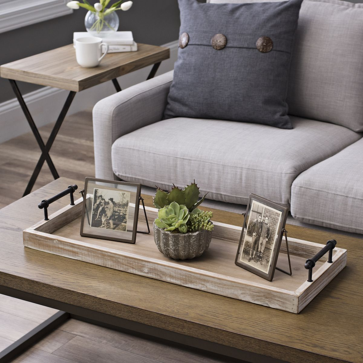 Wooden Decorative Trays Custom Wooden Decorative Tray With Metal Handles  Coffee Table Tray Review