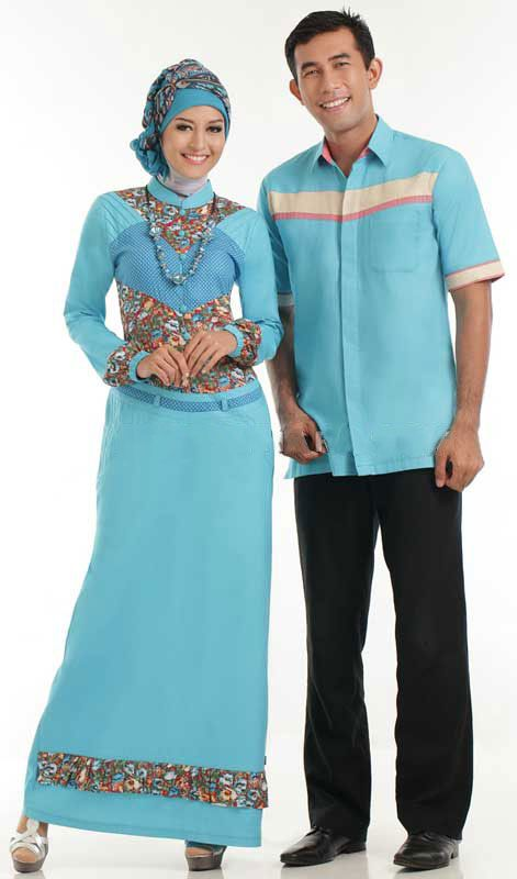 Baju Gamis Sarimbit Batik Biru Royal Gamis Sarimbit Ini