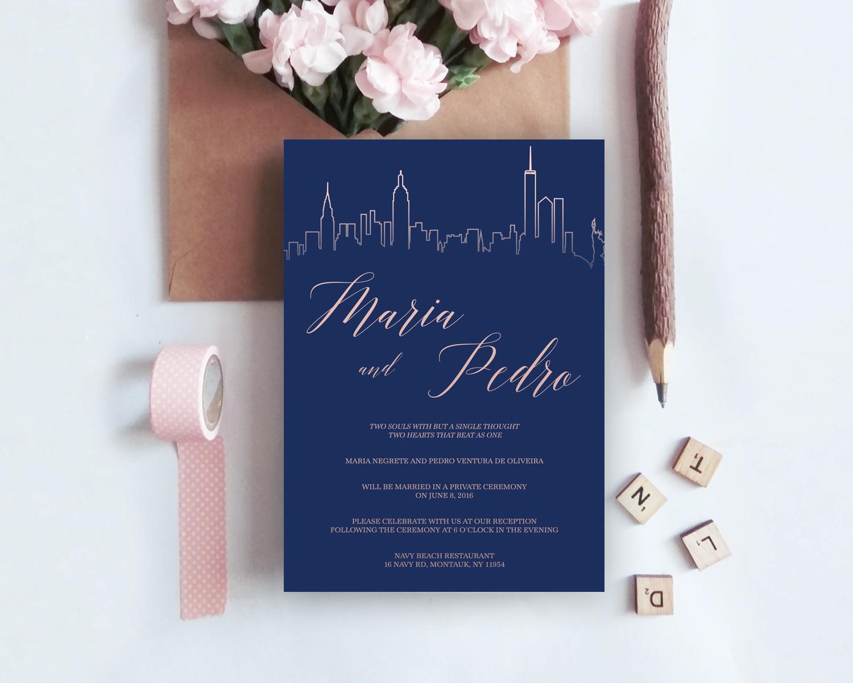 Wedding Invitation Template, Navy Blue, City Skyline, Cheap ...