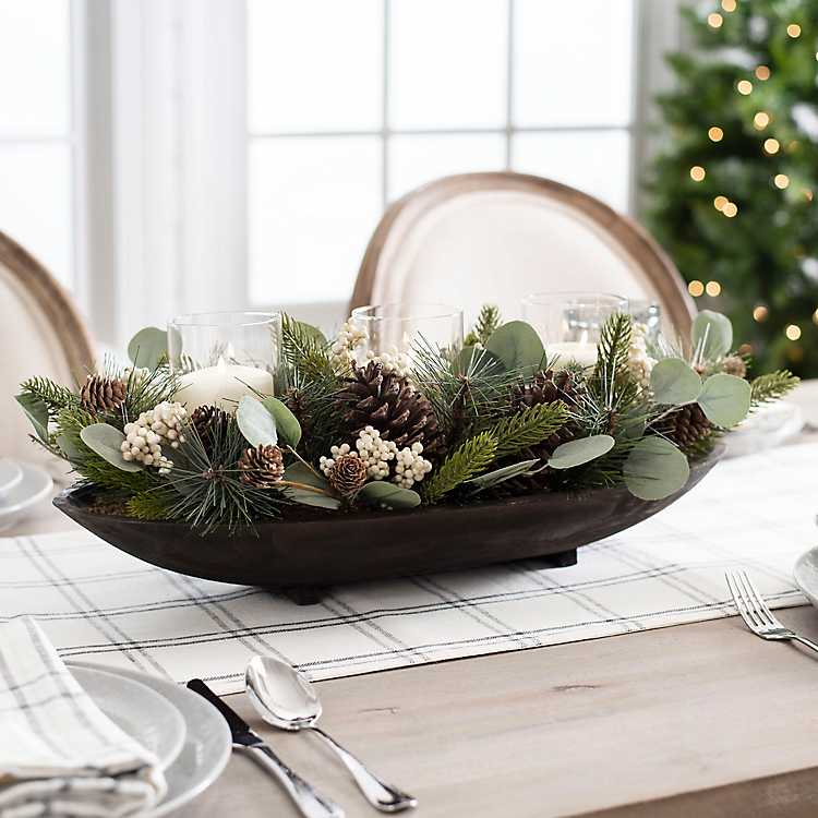 Eucalyptus And Pinecone Centerpiece From Kirkland S Dining Room Table Centerpieces Kitchen Table Centerpiece Table Centerpieces For Home