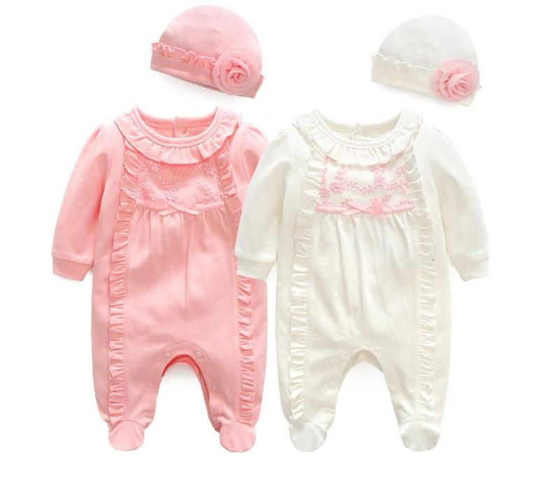 Newborn Baby Girls Princess Onesies Footed Jumpsuit Romper with Hat Outfit