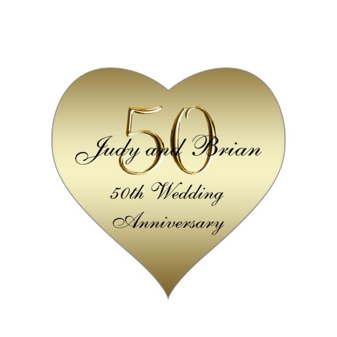 Gold Black 50th Wedding Anniversary Heart Sticker