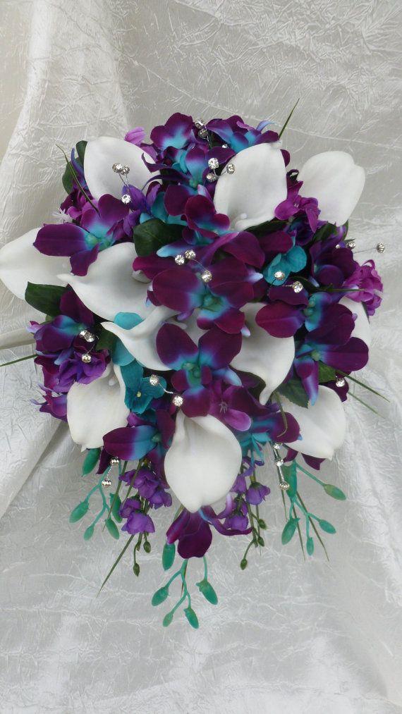 Galaxy Orchid Bridal Bouquet Purple Blue Island Orchid Bouquet