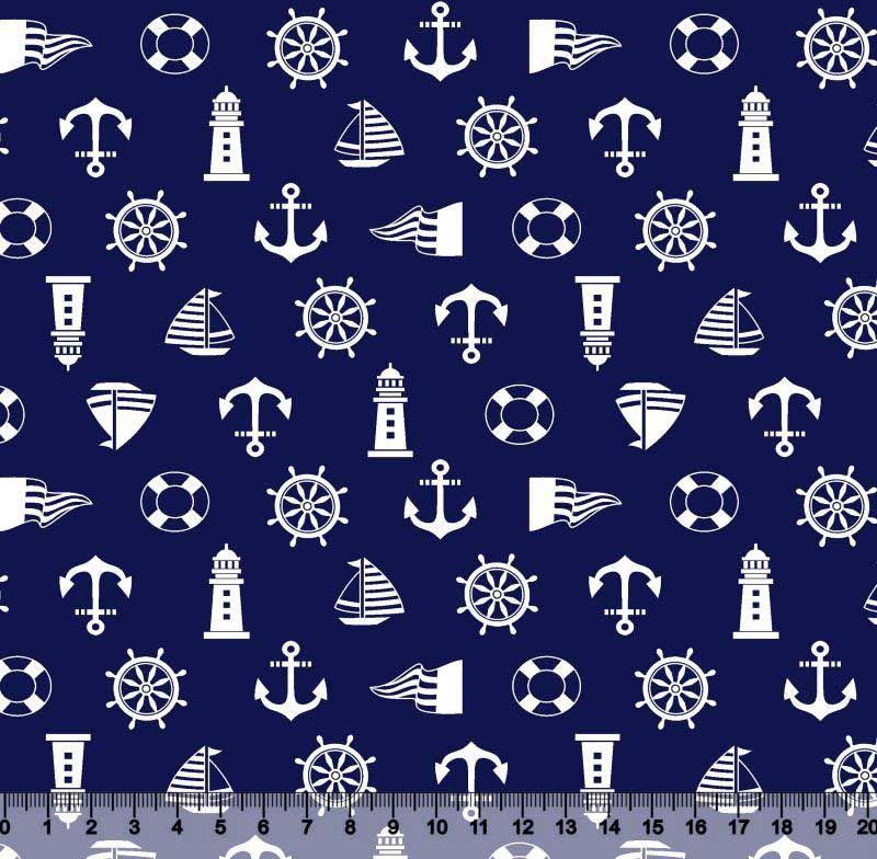 Ancora Timão Desenho 5196 var02-marinho c/branco - Ponto X Tecidos