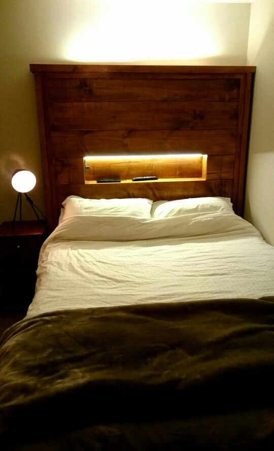 Headboard With Led Strip And Usb Chargers Remodel Bedroom