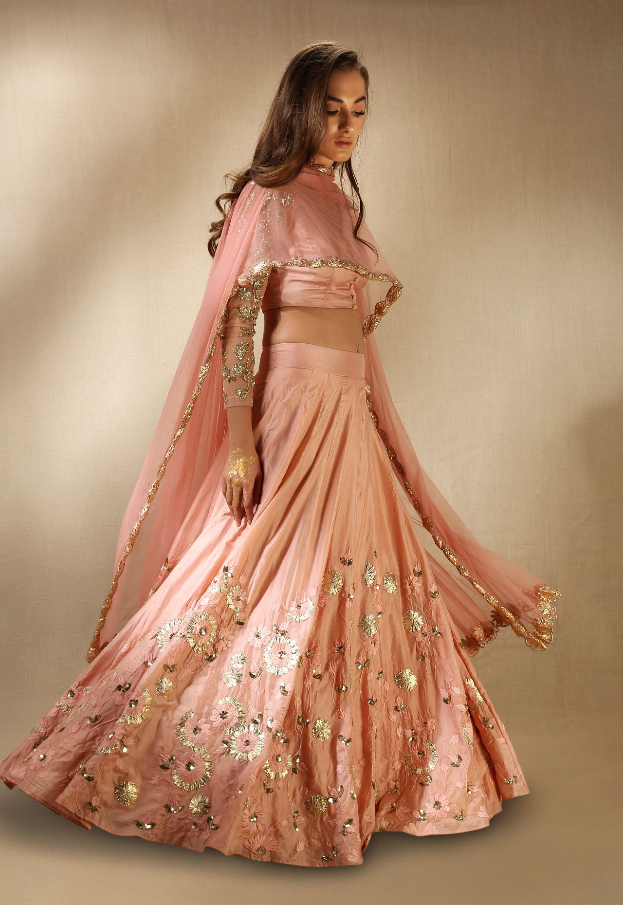 Peach lehenga great to wear to an indian wedding astha for Indian wedding guest dresses uk