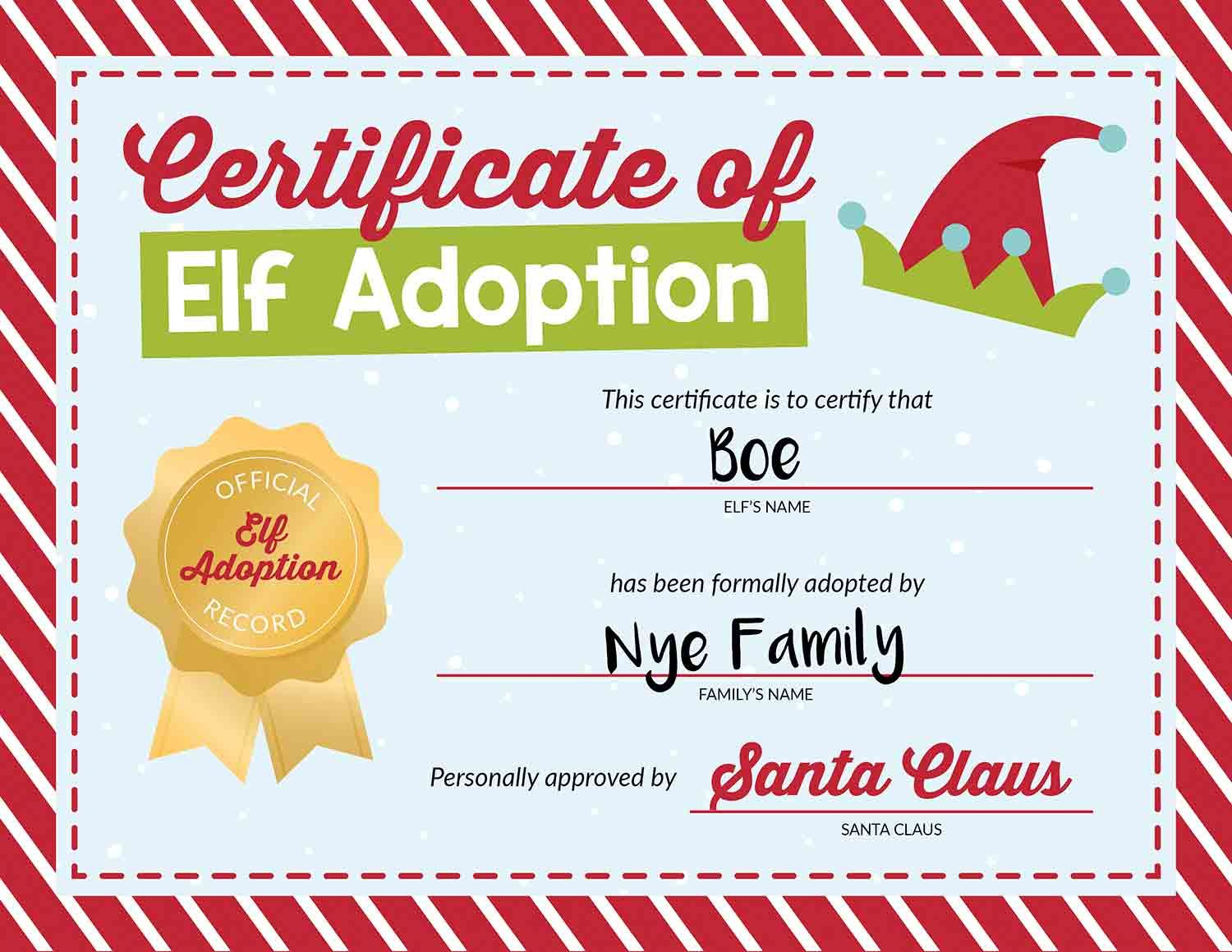 50 Of The Best Elf On The Shelf Names Free Printables I Heart Naptime Elf On The Shelf Elf On The Self Adoption Certificate