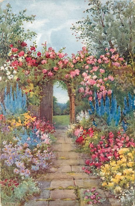 path leads to trellis covered with roses, many coloured ...