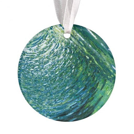 Ocean Reflections Blue & Green Christmas Ornament by Juul