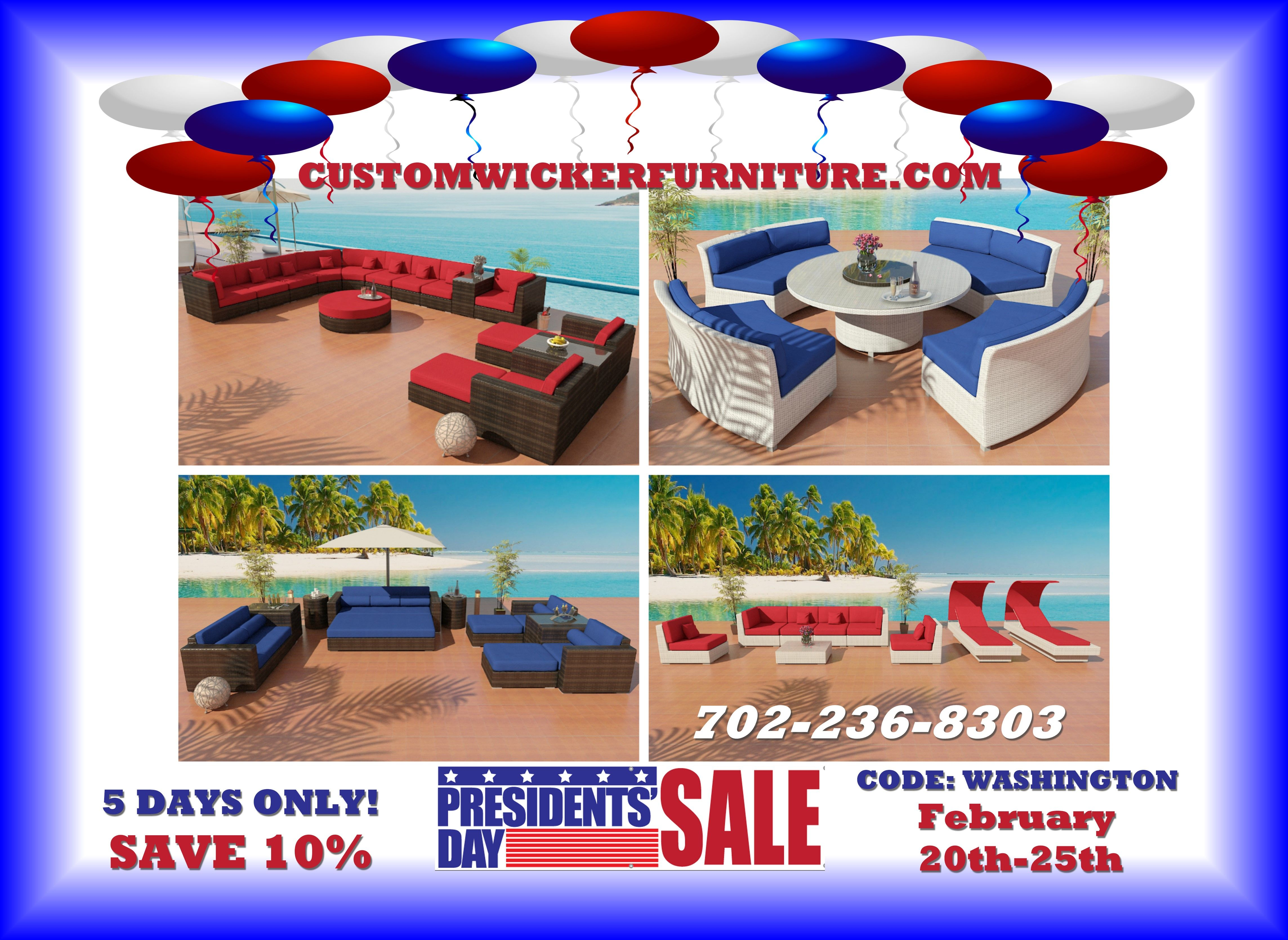 Save on patio furniture during our presidents day sale www customwickerfurniture com