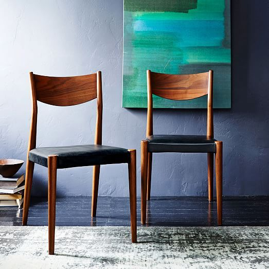 Tate Leather Dining Chair Black