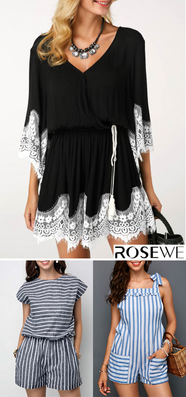 8a8a959c2b7b V Neck Flare Sleeve Lace Panel Romper. New sign-ups get 5% off for all  first orders
