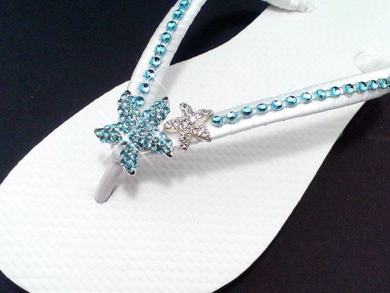 a5dfca623931c Would look cute with just the starfish too. Beach Wedding Flip Flops Teal  Aqua Blue Wedding by Flip Flop Bay