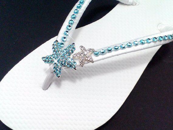 Beach Wedding Flip Flops Teal Aqua Blue Sandals Starfish Bling Bride Bridesmaid Shoes