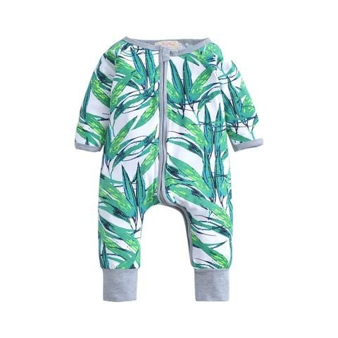 ff155287b57f Newborn Infant Baby Boy Kid Clothing Long sleeves Romper Bamboo Cute  Zipperdresskily