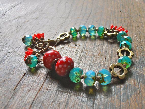 aqua and red bracelet handmade bracelet handmade by songbead