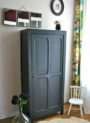 chambre coucher vintage relooker armoire ancienne peinture noire parquet clair trois - Petite Armoire Ancienne